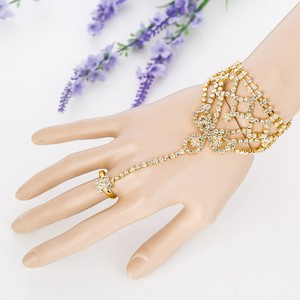 Gold/Clear Crystal Square Gloves