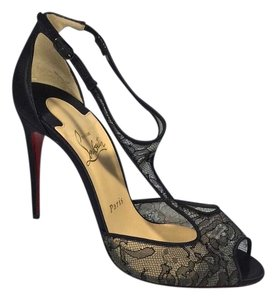 Christian Louboutin Black Lace and Satin Pumps