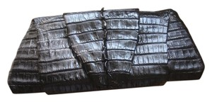 Crocodile Skin Black Clutch