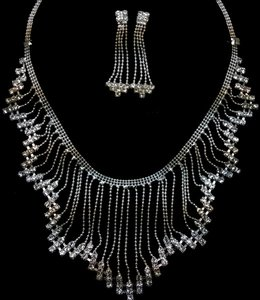 Silver Waterfall Crystal Necklace