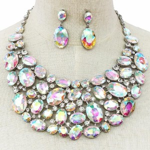 Ab Crystal Oval Necklace And Earring Statement Set