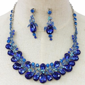 Striking Blue Crystal Bib Statement Earring And Necklace Set