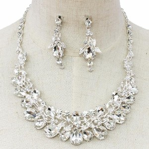 Clear Crystal Earring And Necklace Statement Set