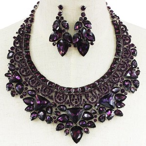 Striking Purple Crystal Statement Earring And Bib Necklace Set.