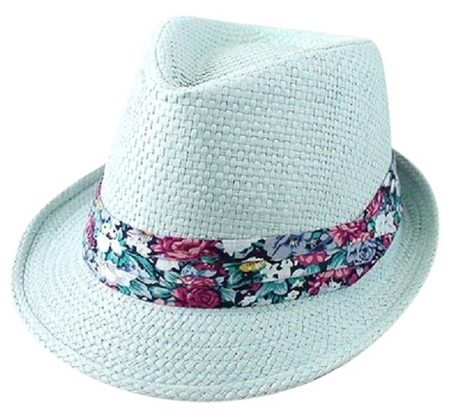 Mint Green Blue Floral Accent Summer Fedora Hat Image 1