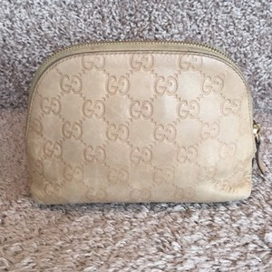 Gucci Gucci Leather Tan Makeup Bag
