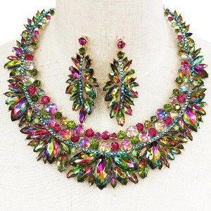 Green Multi-color Crystal Outstanding Necklace And Earring Set