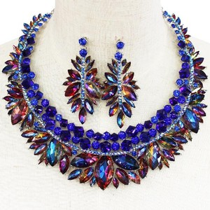 Blue Multi-color Crystal Outstanding Necklace And Ea