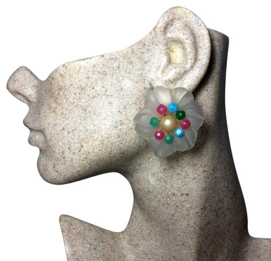 Preload https://item1.tradesy.com/images/dior-frosted-white-multi-christian-vintage-1966-glass-flower-clip-earrings-13376665-0-2.jpg?width=440&height=440