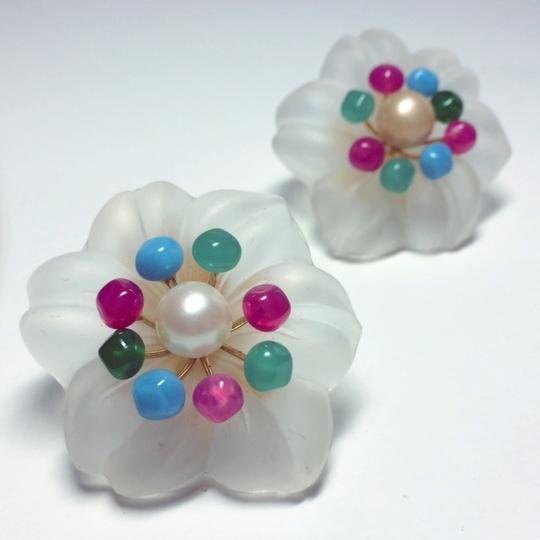 Dior Authentic Christian Dior Vintage 1966 Glass Flower Clip Earrings