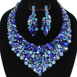 Blue Crystal Leaves Bib Style Necklace And Earring Set