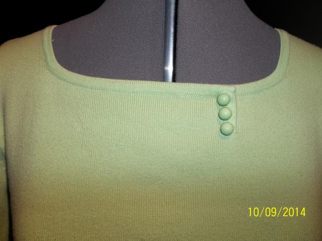 Designers Originals Bright Green 3/4 Length Sleeve Embellished Buttons Sweater