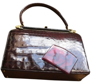 Bellestone Vintage 1950 Genuine Crocodile Matching Mirror Medium Satchel in Burgundy