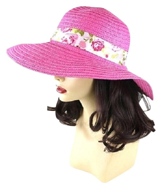 Pink With Floral Ribbon Beach Sun Cruise Summer Large Floppy Dressy Cap Hat Image 1