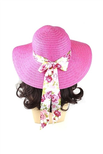 Other Pink with Floral Ribbon Beach Sun Cruise Summer Large Floppy Dressy Hat cap
