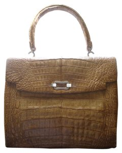 Genuine Crocodile Vintage Satchel in Mustard