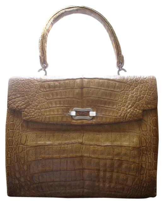Vintage Condition Large Mustard Genuine Crocodile Skin Satchel Image 1