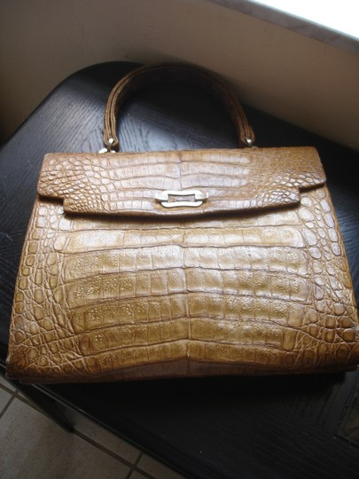 Other Genuine Crocodile Vintage Large Excellent Satchel in Mustard