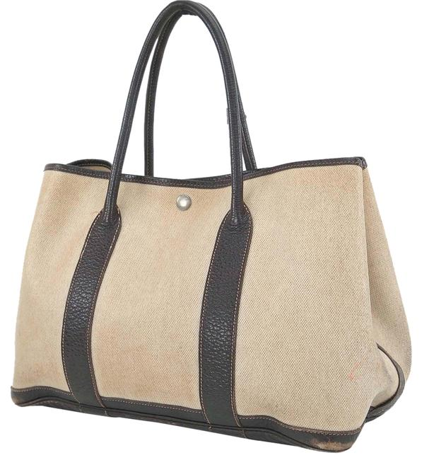 Hermès Garden Party Tote Toile H Beige and Brown Purse Shoulder Bag Hermès Garden Party Tote Toile H Beige and Brown Purse Shoulder Bag Image 1