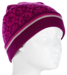 Tory Burch Pink Tory Burch Reva logo monogram knit wool beanie New