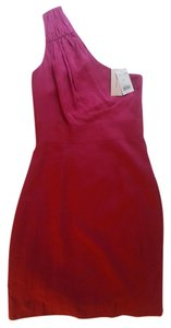 Banana Republic One Shoulder Ruched Fuchsia Dress
