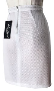 A.B.S. by Allen Schwartz Textured Scuba Sporty Edgy Mini Skirt white