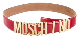 Moschino Red leather Moschino gold tone monogram letters waist belt