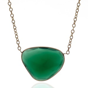 JewelryNest 14k Solid Yellow Gold Green Agate Solitaire Chain Necklace