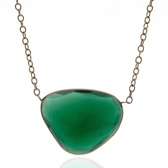 Preload https://img-static.tradesy.com/item/13377847/yellow-jewelrynest-14k-solid-gold-green-agate-solitaire-chain-necklace-0-0-540-540.jpg