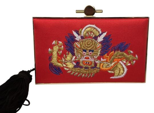 Jason Wu Clasp Closure Metal Satin Leather Lining Red & Gold Clutch