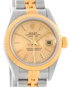 Rolex Rolex Datejust Steel 18k Yellow Gold Tapestry Dial Watch 69173