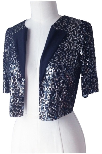Madison Marcus Black Silk Sequin and Beaded Blazer Size 6 (S) Image 0