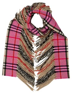 Burberry Brown, black, pink Burberry House Check Happy cashmere fringe hem scarf
