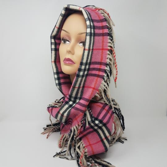 Burberry Brown, black, pink Burberry House Check Happy cashmere scarf