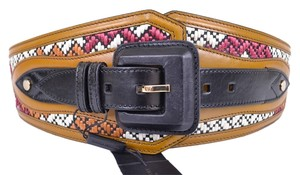 Burberry NEW BURBERRY PRORSUM $650 GOLD OCHRE RUNWAY WOVEN RAFFIA CORSET BELT~32 80