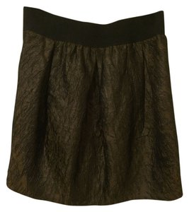 Ya Los Angeles Crinkle Poofy Party Shimmer Mini Skirt Gold Black