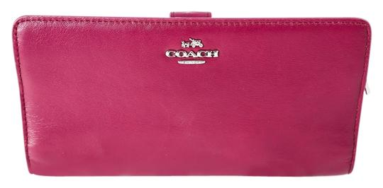 Coach Purple/Pink * Colorblock Leather Skinny Wallet Image 0