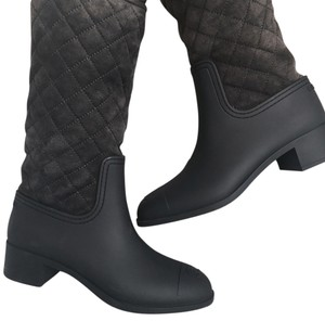 Chanel Charcoal Gray/Black Boots