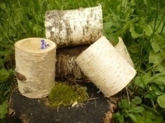 55 Natural Eco Friendly Birch Bark Log Votive Tea Light Candle Holders Set Of 55 Centerpiece Cake Topper