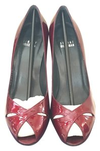 Stuart Weitzman Open Toe Patent Leather Fire Pumps