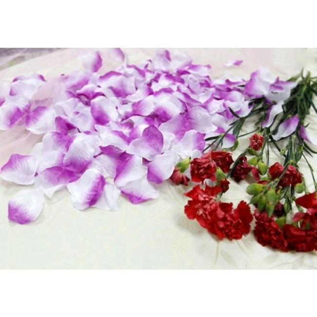 Purple 500x Lavender and White Silk Rose Petals Bridal Party Table Top Centerpieces Decor Flower Girl Basket Image 1