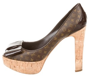 Louis Vuitton Lv Monogram Peep Toe Brown, Beige Pumps