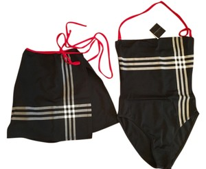 Burberry NWT Burberry Black with huge check 1-piece swimsuit with sarong size XS