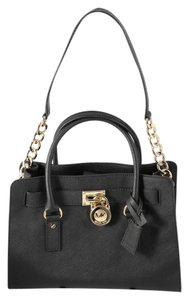 Michael Kors Hamilton Saffiano Leather Goldtone Hardware Satchel in Black