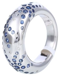 Chaumet SH-CMJ0027 Chaumet 18k White Gold Sapphire Blue Diamonds Ring US 7.5