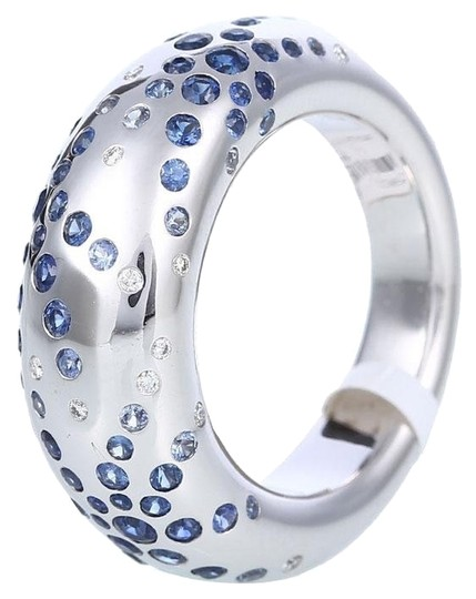 Chaumet 18k White Gold Sapphire Blue Diamonds Ring Image 0