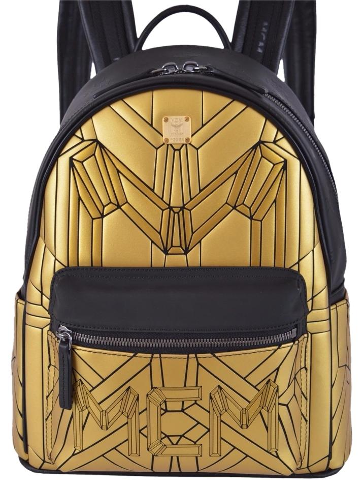 e0f50bb01d MCM New Small Gold Black Rucksack Multi-color Geonic Backpack - Tradesy