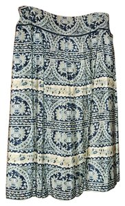 Donna Karan Silk Pattern Skirt Multicolor