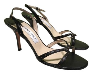 Jimmy Choo 38 Strappy Heels Black Sandals