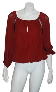 Alice + Olivia Silk Top burgandy